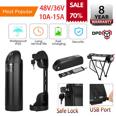 48V 13A Electric E-Bike Battery Portable Li-ion Pack with Lock 2A Charger Kit
