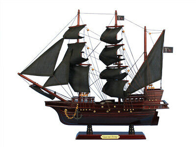 Wooden Model Pirate Ship With Black Sails Black Beards Queen Annes