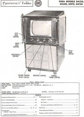 SERVICE Manual 1951 Photofact for a FADA S4C20 S4C40 S4T15 S4T30 Television