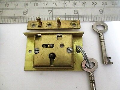 vintage small brass box lock with two keys, antique restoration