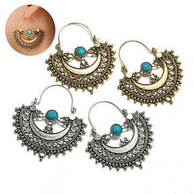 Tribal Ethnic Boho Antique Silver Dangle Turquoise Ear Stud Hollow Out Earrings