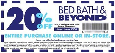20 Off Entire Purchase Bed Bath Beyond Coupon Expires 11 01 2018