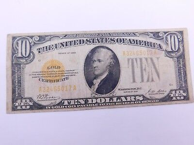 1928 $10 Gold Certificate Note - (88)