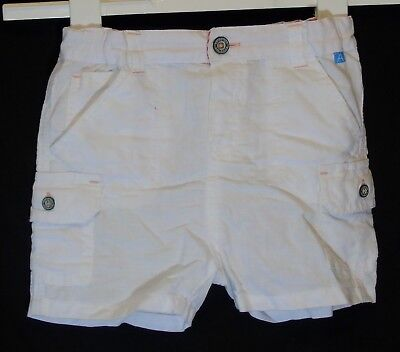 Baby Girls M&S Autograph White Linen Blend Cargo Style Shorts Age 12-18 Months