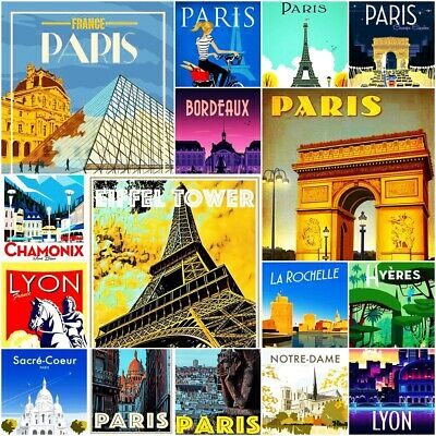 Paris France Monaco Fridge Magnet Poster Vintage Retro Art gift Travel SET 1