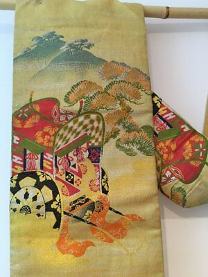 Japanese Vintage Kimono Obi Belt Beautiful embroidery Great for decor