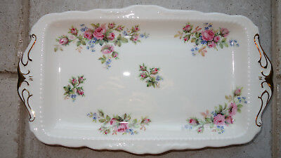 Royal Albert MOSS ROSE Bone China  Kuchenplatte 29,5 x 17 cm Königskuchenplatte