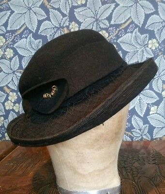 Vintage 1940s Black Hat Tilt Reenactment Portrait Original Ww2