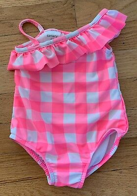 Carters Baby Girls Pink Gingham One Piece Bathing Suit Size 12 months