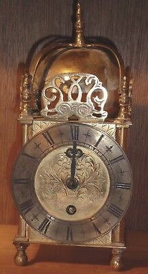 "Lovely 8-day brass lantern clock needs attention (9"" tall)"
