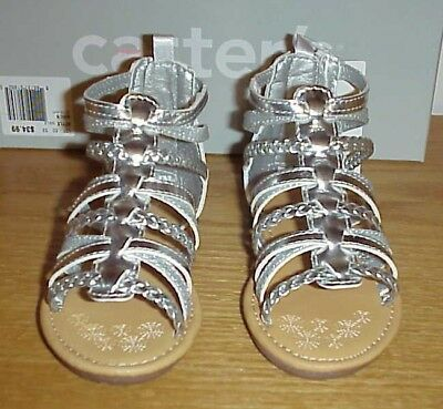 42928b28640 NWT Carter s Smile Toddler Girls  Sandals Silver Gladiator Shoes ...