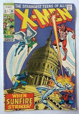 X-Men 64 First Series Silver Age NF/FN Condition 1969 First Sunfire