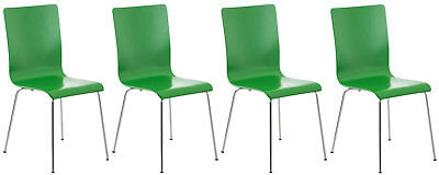 Set 4 visitor chairs PEPPER, sitting wooden, frame chrome-plated metal, in