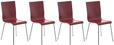 Set 4 chairs visitor PEPPER, sitting wooden, frame in chrome metal, chair in