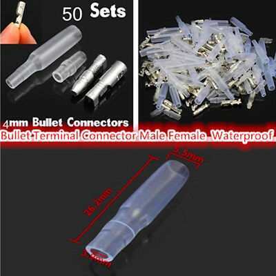 50 Sets Male Female 4MM RED BULLET CONNECTORS ELECTRICAL CRIMP TERMINAL w/ Shea
