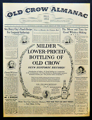 Vtg 1954 Old Crow Kentucky Bourbon Whiskey whisky advertisement print ad art