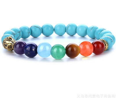 8mm Turquoise 7 color chakra Bracelet yoga Sutra Bless Stretchy Spirituality