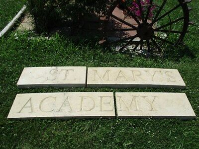 St. Mary's Academy Quincy Illinois Stone Architectural Salvage Display Sign