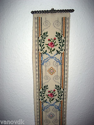 Victorian Petite Point Needlepoint Tapestry Bell Pull with Brass Hardware #4