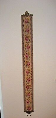 Victorian Petite Point Winter Wool Needlepoint Floral Tapestry Bell Pull  #32