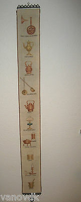Vintage Petite Point Needlepoint Tapestry Bell Pull with Brass Hardware #15
