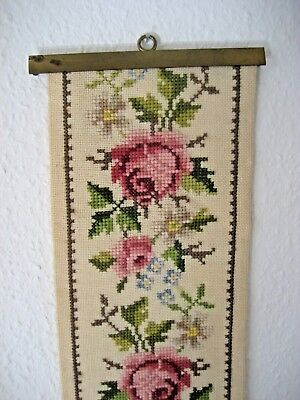 Victorian Petite Point Winter Wool Needlepoint Floral Tapestry Bell Pull  #3