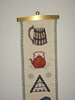 Vintage Petite Point Needlepoint Tapestry Bell Pull with Brass Hardware #23