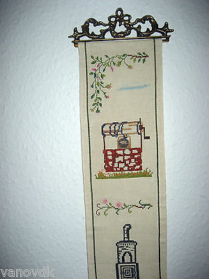 Vintage Petite Point Needlepoint Tapestry Bell Pull with Brass Hardware #14