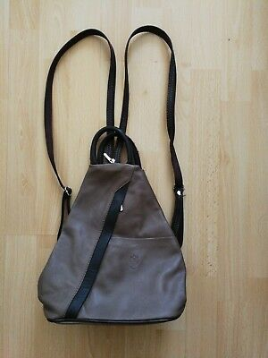 Soft brown leather handbag / back pack with adjustable straps made in Italy