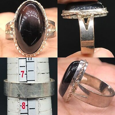 Medieval Beautiful silver Old wonderful Natural Agate stone Ring