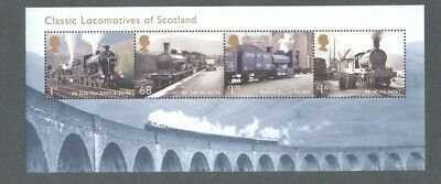 Great Britain-Trains-Locomotives of Scotland mnh min sheet