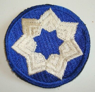 WW 2 U S Army 7th Service Command   Cut Edge Snow Back Patch Rare weave