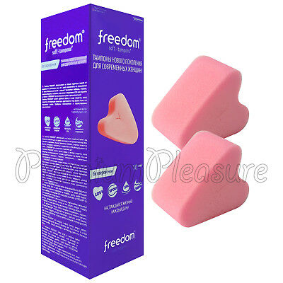 10x Freedom Soft Tampons Normal size Pink sponge Stringless for Sex Swim Spa Box