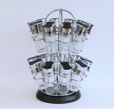 Large Monochrome Retro Revolving Spice Rack Carousel With 20 Glass Jars