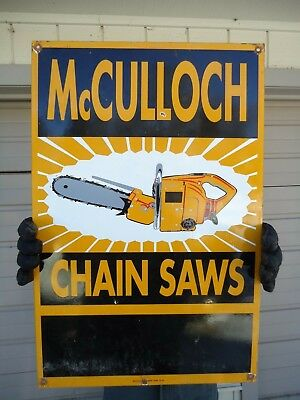 OLD LARGE 1953 McCULLOCH CHAIN SAWS PORCELAIN ENAMEL ADVERTISING SIGN