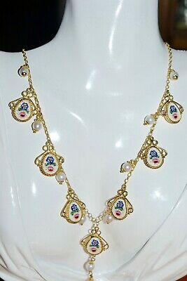 Tagliamonte Ss 925Ygpmicro Mosaic* Necklace*drop Style*fancy*victorian *pearls