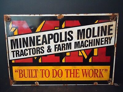 Vintage Minneapolis Moline Tractors & Farm Machinery  Porcelain Sign
