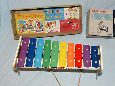 Taiyo Concert Xylo Vibra Phone Blech Spielzeug Tin Toy 60er Jahre Japan in Box