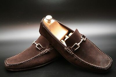 Russell and Bromley Men's Brown Suede Buckle Loafers Shoes UK 6.5-7
