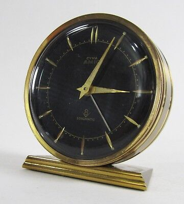 Vintage Cyma Amic Swiss Alarm Clock Sonomatic Brass 8 Day 15 Jewels - AS IS