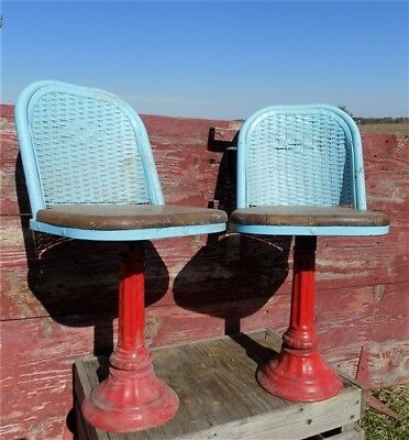 2 Swivel Stools Drug Store Soda Fountain Counter Bar Retro Blue Wicker Chairs