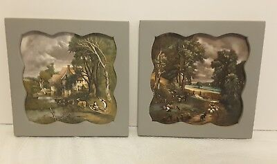 2 Sussex English Tiles Imported for Old Country Busch Gardens Framed Pictures