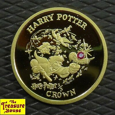 RARE 2001 Isle of Man Harry Potter Broom Ruby Proof 1/5 CROWN Pure Gold Coin NR!