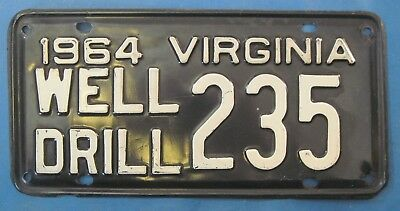 1964 Virginia well drill license plate