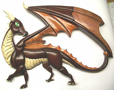 "Intarsia wood carving DRAGON 'Looking Back', Original ~ NEW 24 1/2""w X 18 1/2""h"