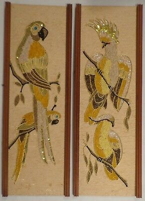 Gravel Wall Art Plaque Vintage Mid Century Pair Cockatiel Cocatoo Parrot Retro