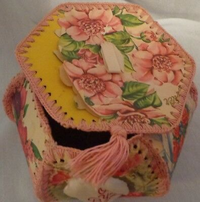 Stitched Sewn Crocheted Greeting Card Basket Handcrafted Vintage Box Storage Lid