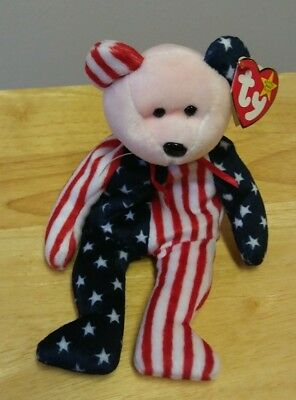 TY Beanie Babie  SPANGLE PINK/RED FACE Patriotic bear  with errors