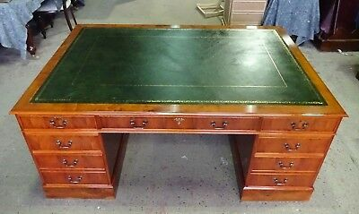Stunningly Restored Large Yew Wood Antique Reproduction Pedestal Desk
