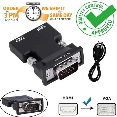HDMI Female To VGA HD1080P Male Converter Adapter  Stereo Audio Output USB Power